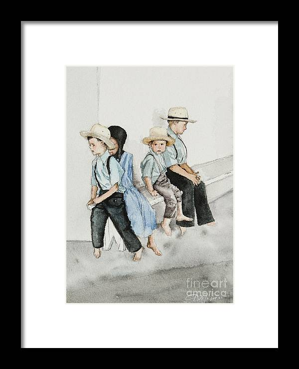 Amish Framed Print featuring the digital art Frytown Auction by Kelly Morrow