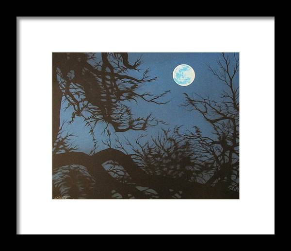 Moon Framed Print featuring the drawing Full Moon by Joe Christensen