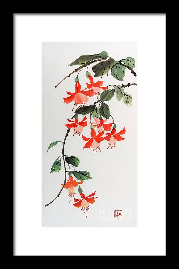 Flower Framed Print featuring the painting Fuschia by Yolanda Koh