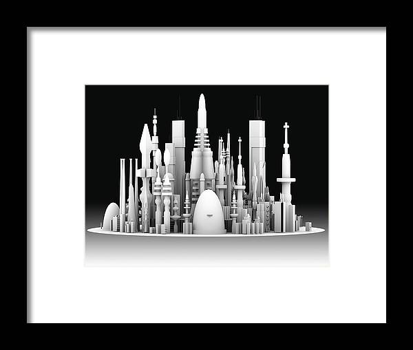 Abstract Framed Print featuring the photograph Futuristic Cityscape, Artwork by Pasieka