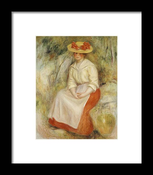 Impressionist; Impressionism; Portrait; Female; Seated; Sitting; Full Length Framed Print featuring the painting Gabrielle In A Straw Hat by Pierre Auguste Renoir