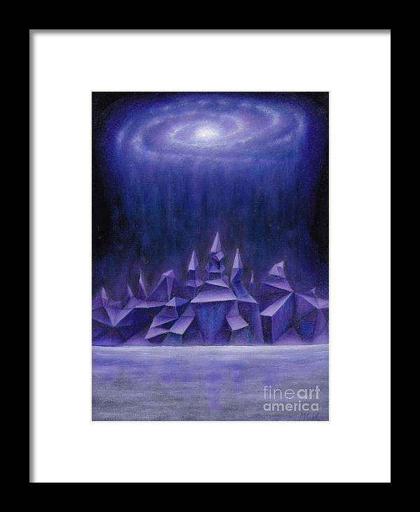 Aliens Framed Print featuring the painting Galaxy City by Michelle Cavanaugh-Wilson