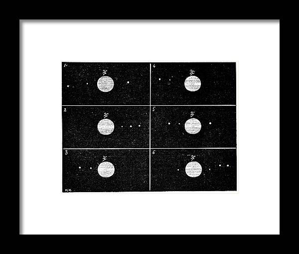 Jupiter Framed Print featuring the photograph Galileo's Jovian Moon Observations, 1610 by