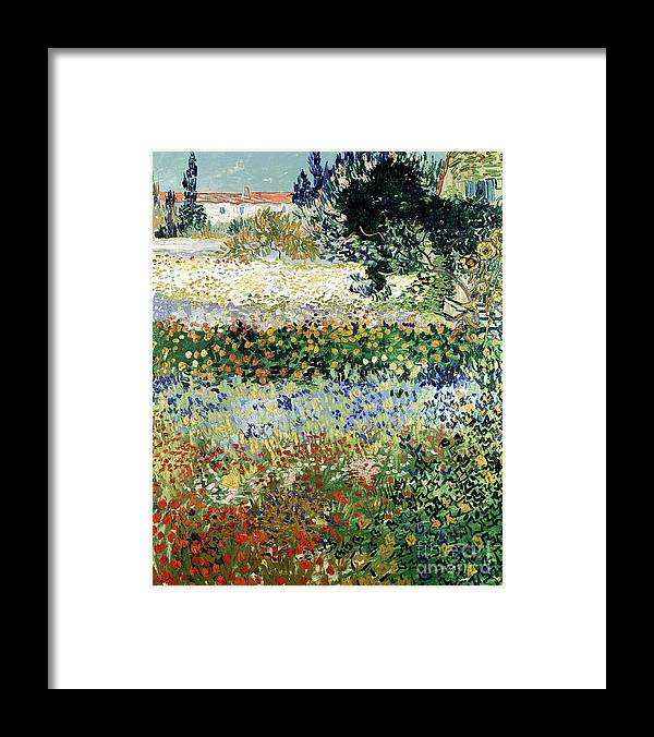 Garden In Bloom Framed Print featuring the painting Garden in Bloom by Vincent Van Gogh