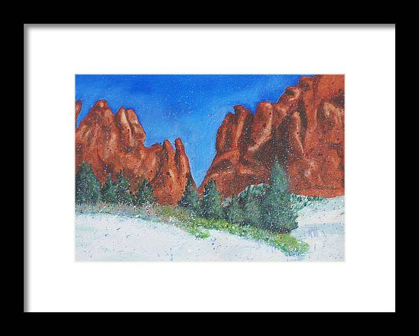 Landscape Framed Print featuring the painting Garden Of The Gods 2 by Les Katt