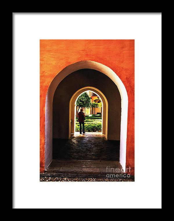Spain Alhambra Arabic Arches Framed Print featuring the photograph Garden Passage by Rick Bragan