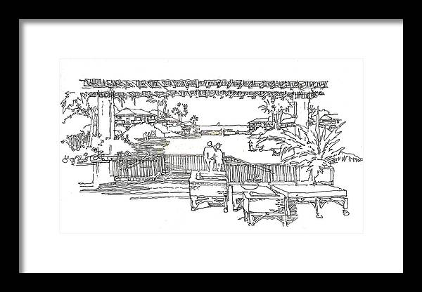 Garden Resort Architecture Framed Print featuring the drawing Garden View by Andrew Drozdowicz