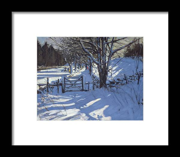 Countryside Framed Print featuring the painting Gate Near Youlgreave Derbyshire by Andrew Macara
