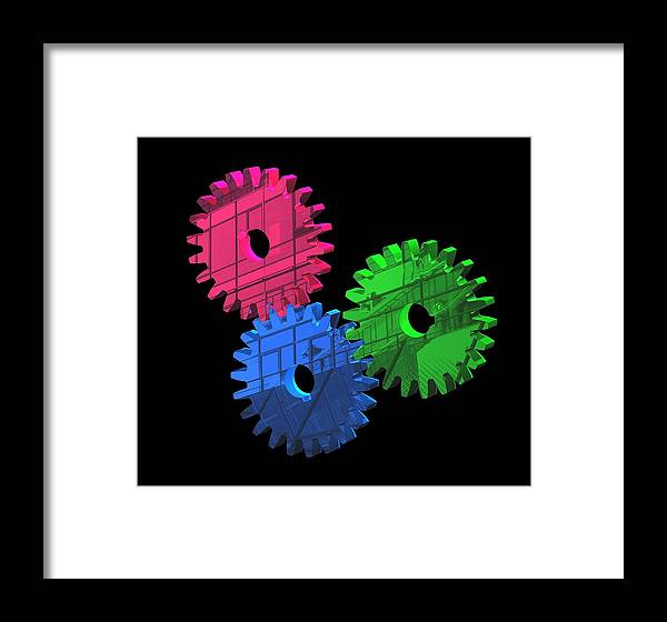 Gear Wheel Framed Print featuring the photograph Gear Wheels, Artwork by Laguna Design