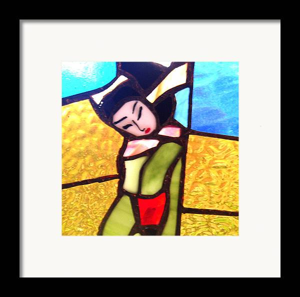 Asian Framed Print featuring the ceramic art Geisha In Doorway by Patricia Lazar