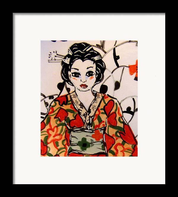 Art Framed Print featuring the ceramic art Geisha In Training by Patricia Lazar