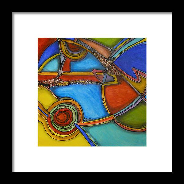 Abstract Framed Print featuring the painting Gene Pool by Roy Guzman