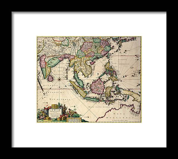 Maps Framed Print featuring the drawing General Map Extending From India And Ceylon To Northwestern Australia By Way Of Southern Japan by Nicolaes Visscher Claes Jansz