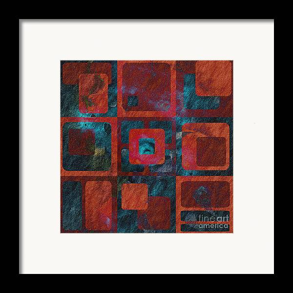 Abstract Framed Print featuring the digital art Geomix 02 - Sp07c03b by Variance Collections