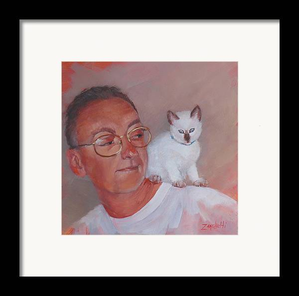 Portrait Framed Print featuring the painting George And Doc by Laura Lee Zanghetti