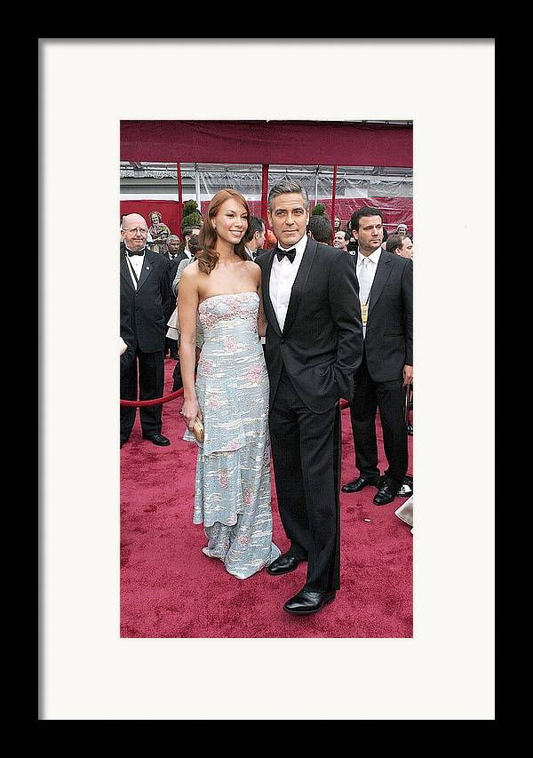 Academy Awards Framed Print featuring the photograph George Clooney, Sarah Larson Wearing by Everett