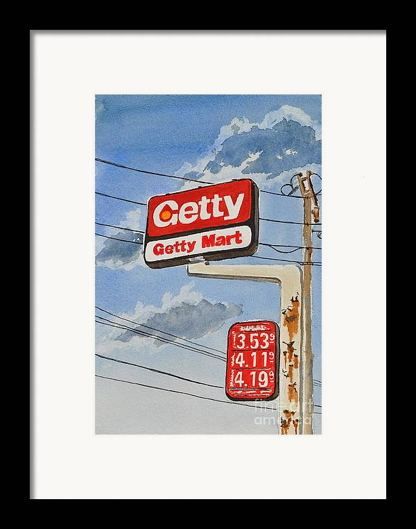 Framed Print featuring the painting Getty Mart by Andrea Timm