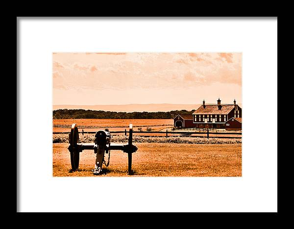 Cannon Framed Print featuring the digital art Gettysburg Color by Justin Mac Intyre