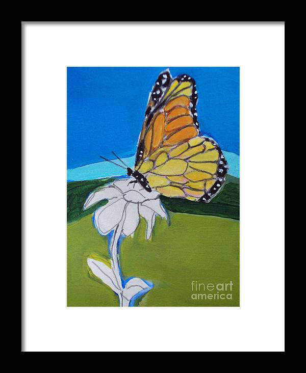 Butterfly Framed Print featuring the painting Ghost Flower And Butterfly by Diane Ursin