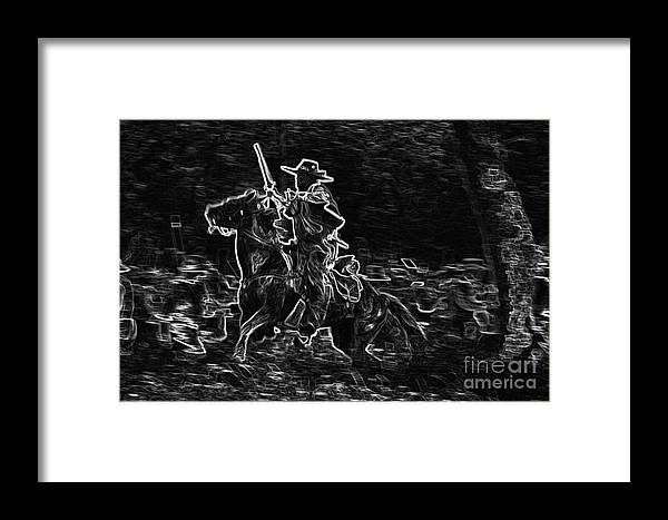 Horses Framed Print featuring the mixed media Ghost Rider by Kim Henderson
