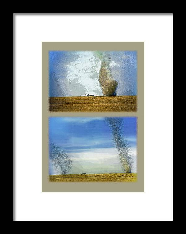 Dust Storms Framed Print featuring the photograph Giant Dust Devils Diptych by Steve Ohlsen