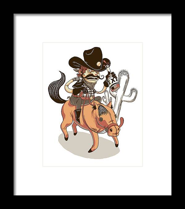 Cowboy Framed Print featuring the digital art Giddy Up by Michael Myers