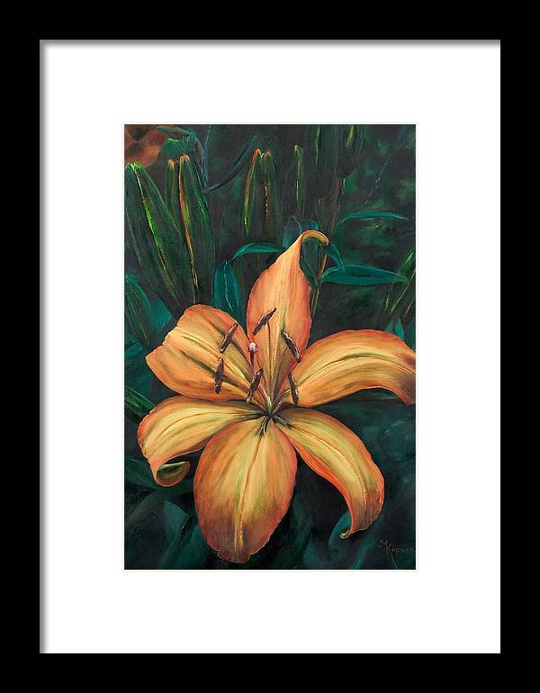Flower Framed Print featuring the painting Gilded Lily by Judith Koppes