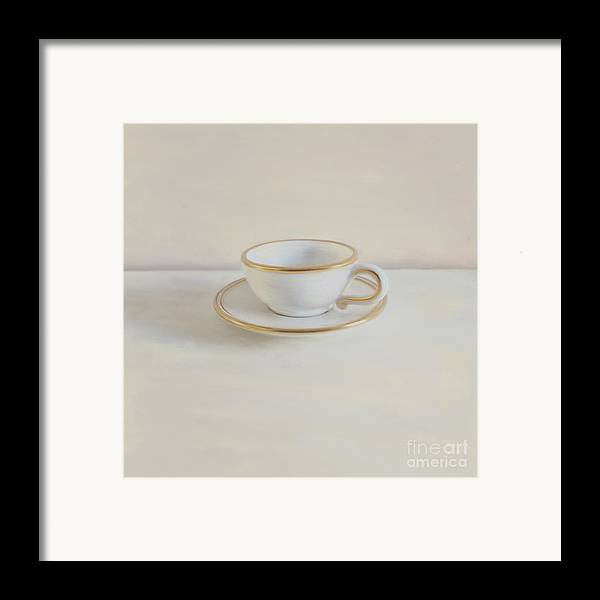Gilt Cup Framed Print featuring the photograph Gilt Cup On White Marble by Paul Grand