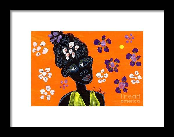 Folk Art Framed Print featuring the painting Girl And Flowers by Corinne Innis