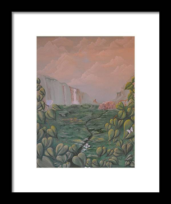 Sky-landscape-clouds-leaves-cliffs-leaves-butterflies Framed Print featuring the painting Girl On A Bluff by Gwen Albee