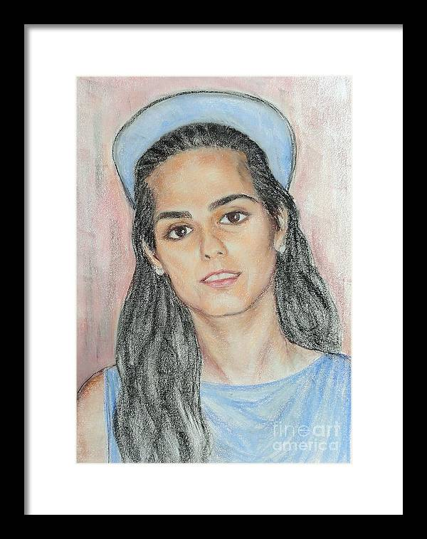 Portrait Framed Print featuring the painting Girl With A Blue Cap by Ziba Bastani