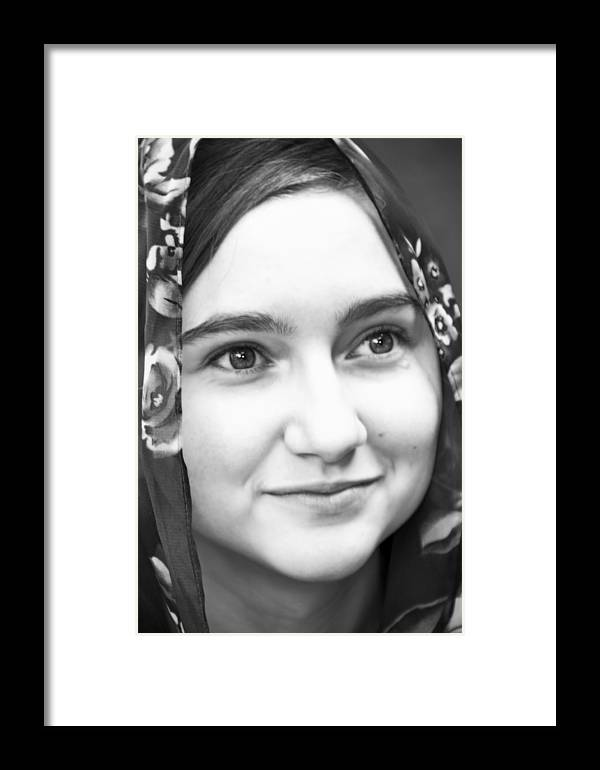 Girl Framed Print featuring the photograph Girl With A Rose Veil 4 Bw by Angelina Vick