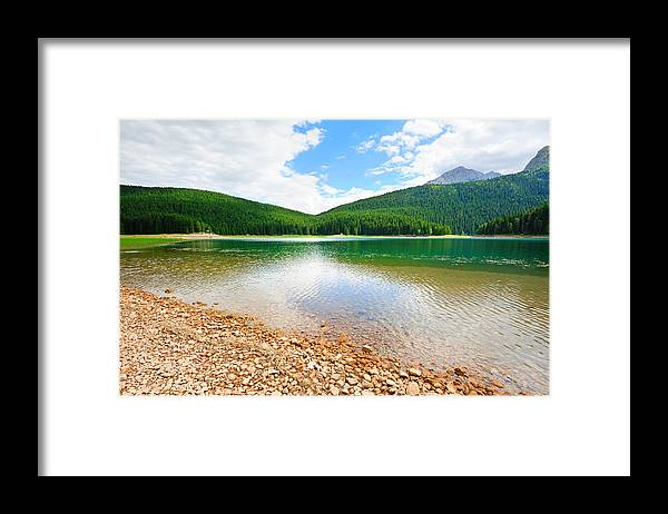 Lake Framed Print featuring the photograph Glacial Black Lake In Durmitor by Roman Rodionov