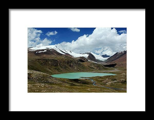 Asia; Kyrgyzstan; Mountain; Mountains; Tien-shan; Glacier; Glacial Framed Print featuring the photograph Glacial Lake In Kyrgyz Tien-shan by Michal Cerny