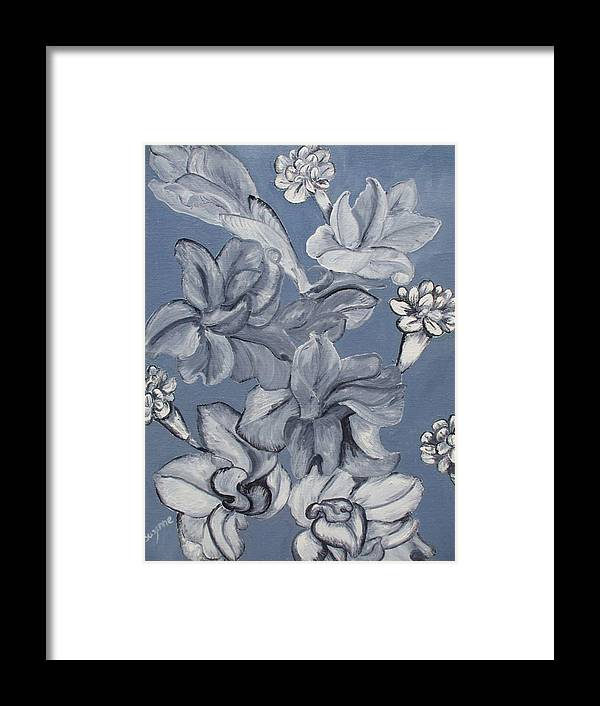 Monotone Framed Print featuring the painting Gladiolas And Carnations by Suzanne Buckland