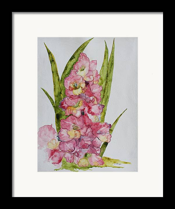 Gladiolas Framed Print featuring the painting Gladiolas by Patsy Sharpe