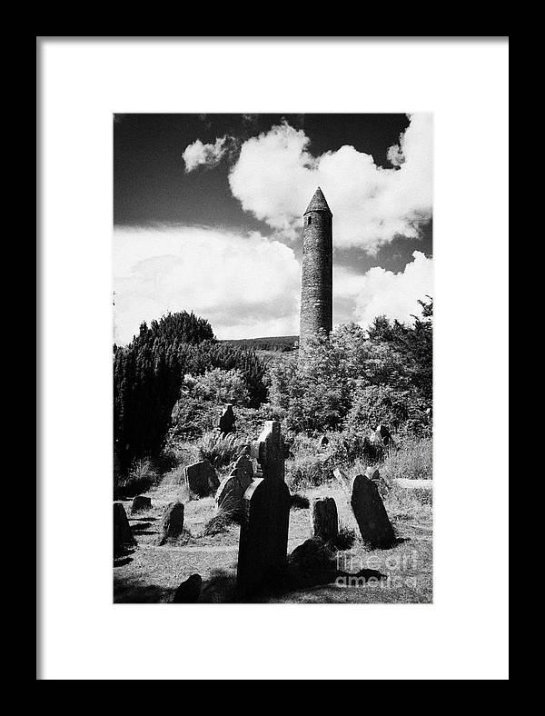 Glendalough Framed Print featuring the photograph Glendalough Round Tower Ireland by Joe Fox