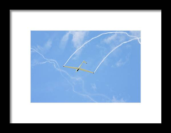 Plane Framed Print featuring the photograph Glider Aerobatics Against Blue Sky Canvas Poster Photo Print by Keith Webber Jr