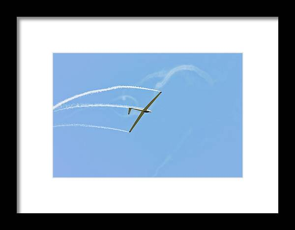 Plane Framed Print featuring the photograph Glider Flying Aerobatics At Airshow Phot Canvas Poster Print by Keith Webber Jr