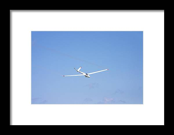Plane Framed Print featuring the photograph Glider Flying In Blue Sky Canvas Photo Poster Print by Keith Webber Jr