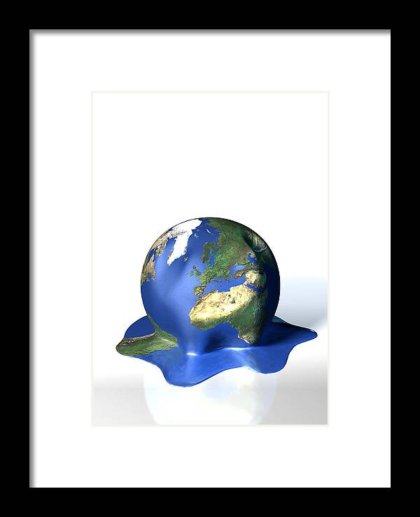 Earth Framed Print featuring the photograph Global Warming, Conceptual Image by David Mack