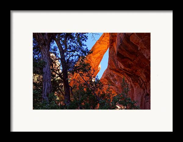 Arches National Park Framed Print featuring the photograph Glowing Arch by Scott McGuire
