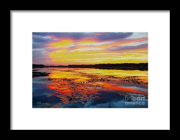 Sunrise Framed Print featuring the photograph Glowing Skies Over Crews Lake by Barbara Bowen