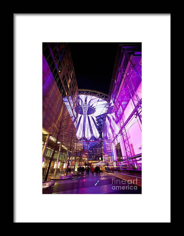 Sony Center Framed Print featuring the photograph Glowing Sony Center by Mike Reid