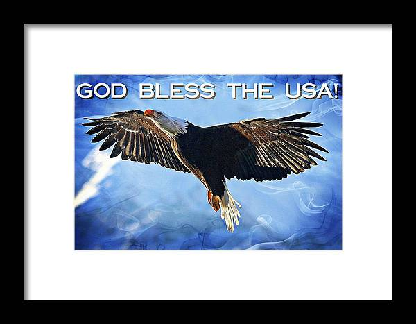 Bald Eagle Framed Print featuring the digital art God Bless The Usa by Carrie OBrien Sibley