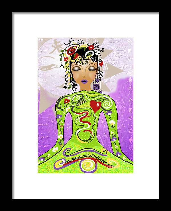 Yoga Framed Print featuring the digital art Goddess Of Yoga by Gia Simone