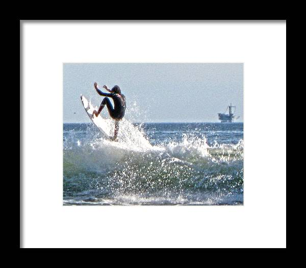 Surfer Framed Print featuring the photograph Going Up by Marie Morrisroe