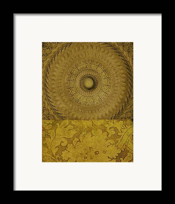 Abstract Art Framed Print featuring the mixed media Gold Wheel I by Ricki Mountain