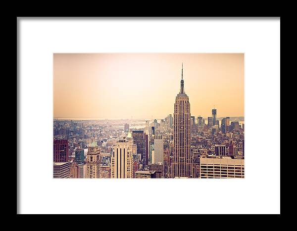 New York Framed Print featuring the photograph Golden City Of New York by Heidi Reyher