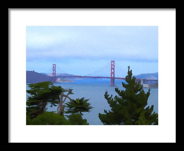 Framed Print featuring the painting Golden Gate Bridge by Hannah Walton